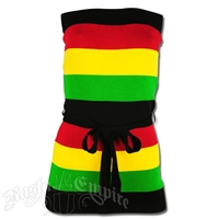 Rasta and Reggae Multi Stripe with Belt Knit Tube Top