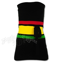 Rasta and Reggae Wide Stripe Knit Tube Long Top with Belt