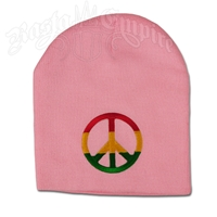 Rasta Peace Sign on Pink Beanie Cap