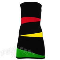 Rasta and Reggae Front Wave Knit Tube Top Mini Dress