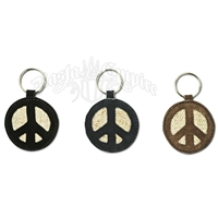 Hemp and Suede Peace Sign Round Keychain