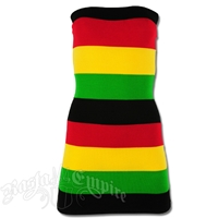 Rasta and Reggae Multi Stripe Knit Tube Top Mini Dress