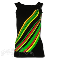 Rasta and Reggae Knit Round Collar Long Top With Accent Buckle