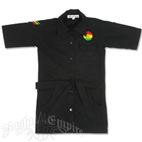 Dub Wise Little Girls Rasta Button Down Shirt - Black
