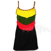 Rasta Layers & Braided Straps Tank Top - Black