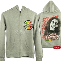 Bob Marley And The Wailers One Love Gray Zip Hoodie - Women's
