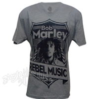 Bob Marley Rebel Music Athletic Heather V-Neck T-Shirt - Men's