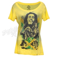 Bob Marley Irie Livin' Yellow Scoop Neck Top - Women's