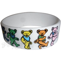 Grateful Dead Dancing Bears Silicone Wristband - White