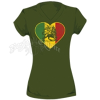 Rasta Lion of Judah Heart Kiwi V-Neck T-Shirt - Women's