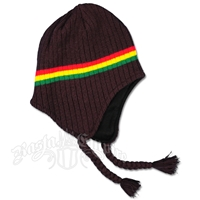Rasta Ear Flap Hat - Brown