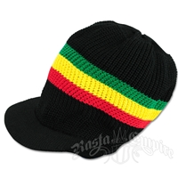 Rasta Cotton Visor Cap - Black/Rasta