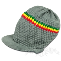 Rasta Band Brim Headwear - Gray