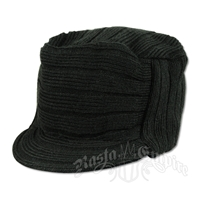 Solid Black Knit Flat Top Cadet Cap