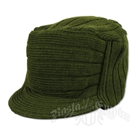 Solid Olive Knit Flat Top Cadet Cap
