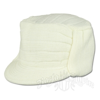 Solid White Knit Flat Top Cadet Cap