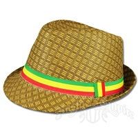 Rasta Straw Fedora - Brown