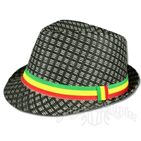 Rasta Straw Fedora - Black/Gray
