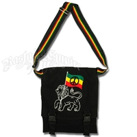Rasta Lion & Peace Sign Hemp Shoulder Bag