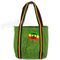 Rasta Lion & Peace Sign Flag Tote Bag