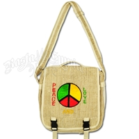 Rasta Peace & Love Hemp Messenger Bag