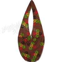 Rasta Peace Sign Wide Strap Shoulder Bag – Brown
