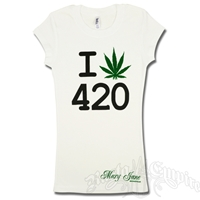 I Love 420 Pot Leaf White T-Shirt – Women's