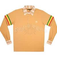Dub Wise Rasta Stripe Tan  L/S Rugby Shirt - Men's