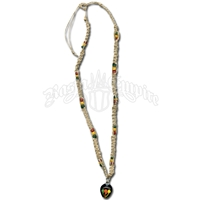 Rasta Mushroom Pendant & Coco Beads Hemp Necklace