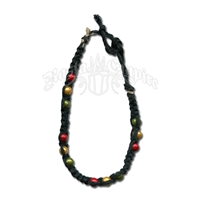Rasta Wonder Beads Black Hemp Bracelet