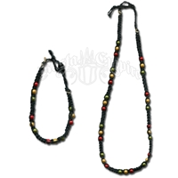 Rasta Wonder Beads Black Hemp Necklace & Bracelet Set