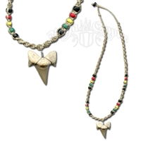Shark Tooth Rasta Bead Hemp Necklace