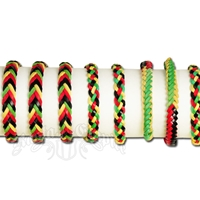 Rasta and Reggae Braided Leather Bracelet - Assorted Designs