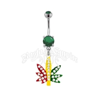 Rasta Marijuana Leaf Dangle Belly Ring
