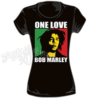 Bob Marley One Love Box Black T-Shirt - Women's