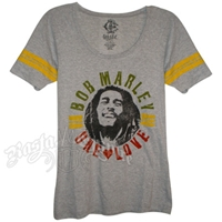 Bob Marley One Love Grey Baseball T-Shirt – Women's