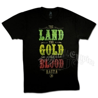 Rasta Land, Gold & Blood Black T-Shirt - Men's