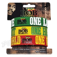Bob Marley One Love, Heart & World Silicone Wristband - 3-Pack