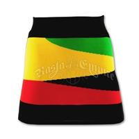 Rasta and Reggae Knit Mini Skirt with Wave Pattern