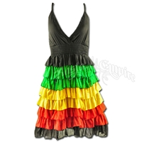 Rasta and Reggae Ruffle Short Dress