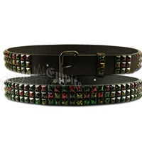 Rasta Speckled Stub Leather Belt