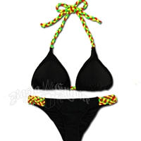 Rasta Braid Triangle Top and Lowrise Bottom Bikini Swimsuit