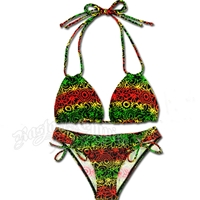 Rasta Trenchtown Loop Triangle Top and Loop Tie Bottom Bikini Swimsuit