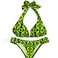 Jamaican Tie Dye Halter and Rio Bottom Bikini Swimsuit
