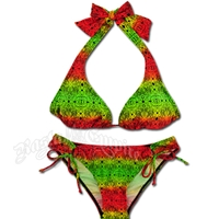 Rasta Lace Halter and Loop Tie Bottom Bikini Swimsuit