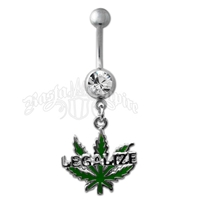 Marijuana Leaf Legalize Belly Ring with Clear Jewel Body Jewelry