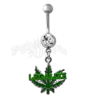 Marijuana Leaf Legalize Green Belly Ring with Clear Jewel Body Jewelry