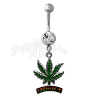 Marijuana Leaf Rasta Legalize It Belly Ring with Clear Sparkle Jewel Body Jewelry