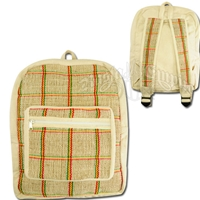 Rasta Striped Woven Hemp Backpack - Khaki