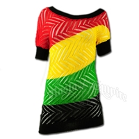 Rasta and Reggae Herringbone Unbalanced Tunic Top